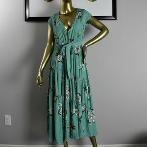 FREE PEOPLE floral maxi dress Size 2 XS Blue Green